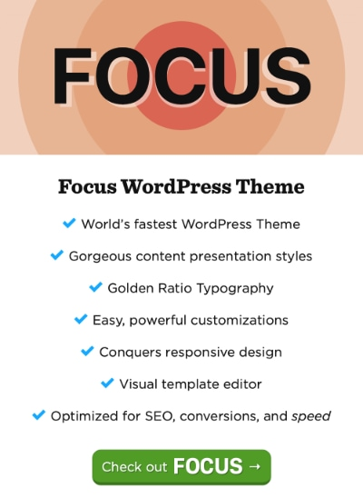 Advertisement for the Focus Theme for WordPress.